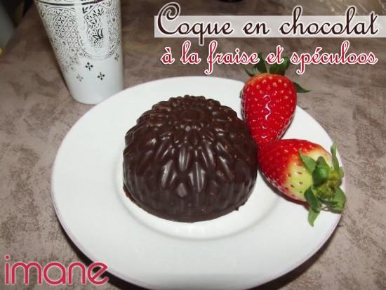 Coque en chocolat à la fraise et spéculos