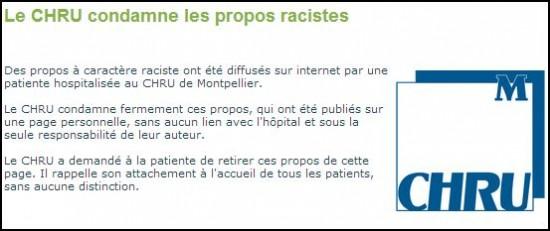 L'hôpital de Montpellier dénonce les propos racistes d'une patiente !
