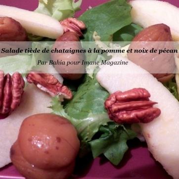 Salade tiède de châtaignes à la pomme et noix de pécan