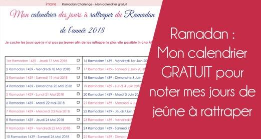 Ramadan : Mon calendrier GRATUIT pour noter mes jours de jeûne à rattraper